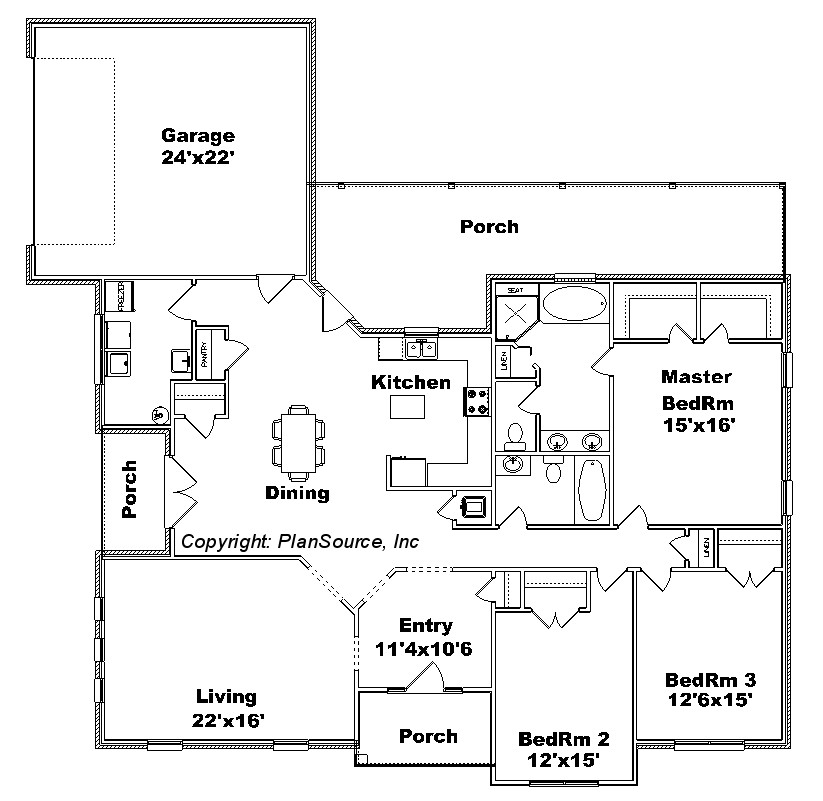 Floor plans with a view 0629 12 house plan plansource inc Birds eye view house plan