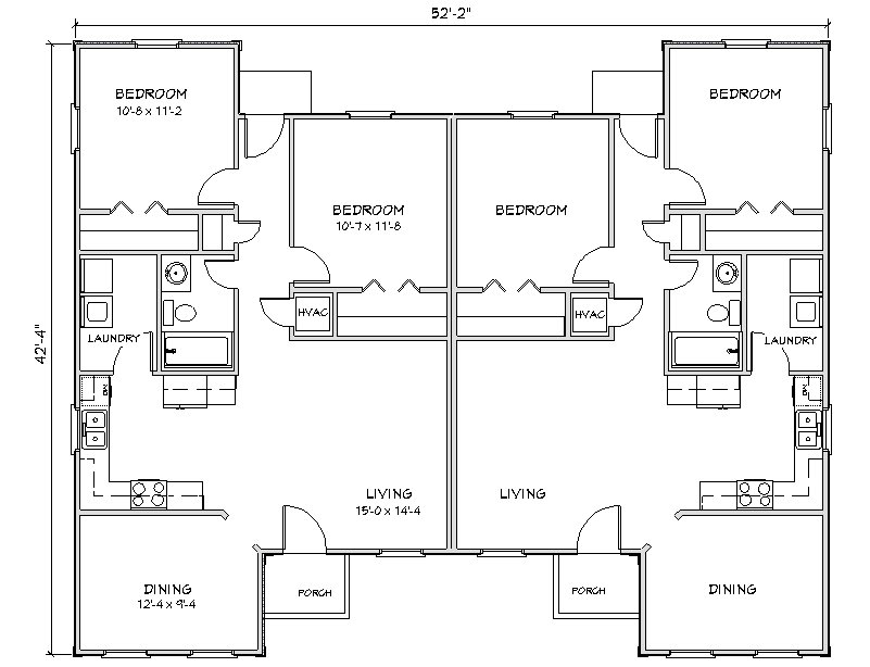 Duplex house plan j949d plansource for Duplex plans with cost to build