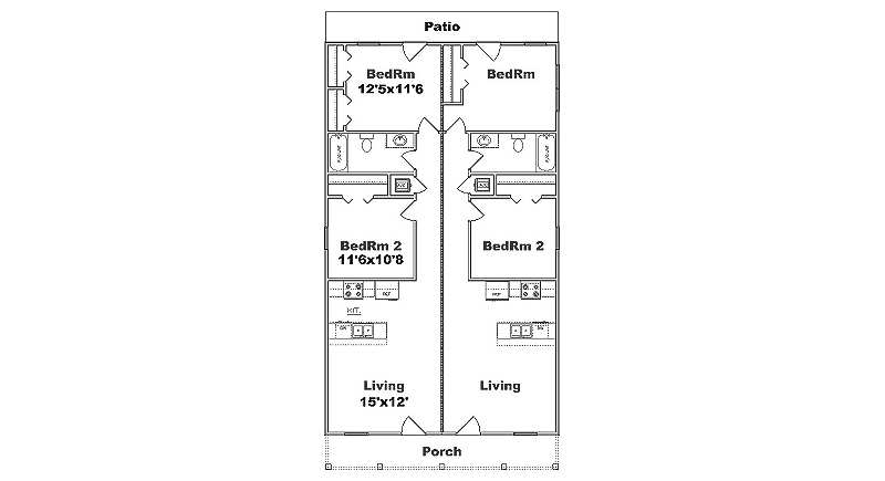Narrow lot duplex plan j1690d b for Duplex plans for small lots