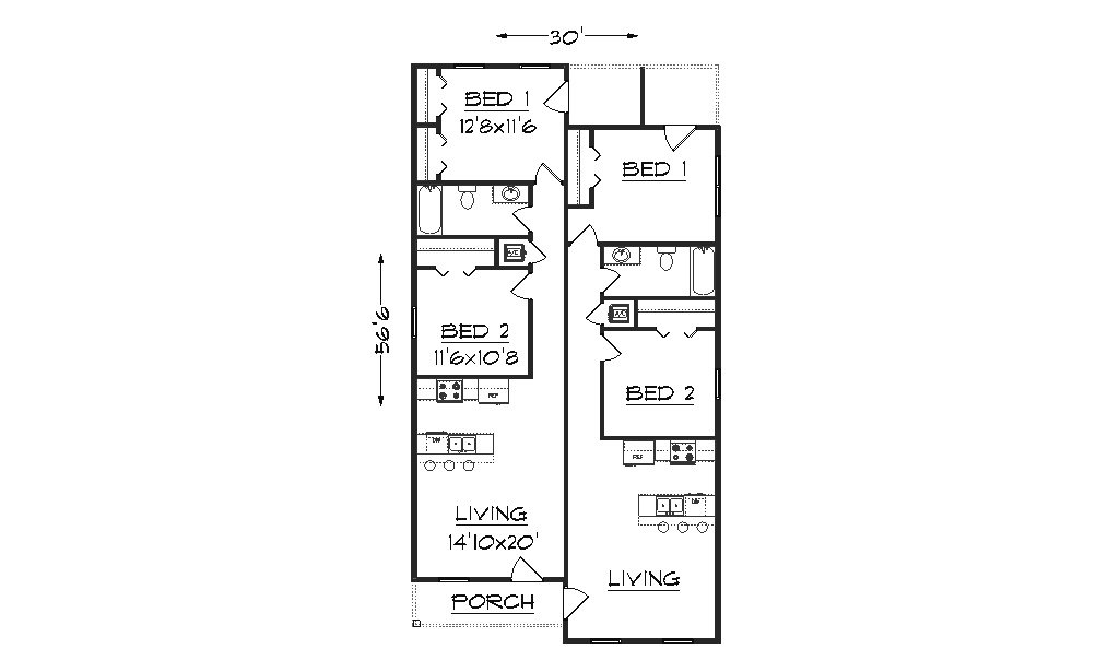Duplex j1690d plansource inc for Apartment home plans for narrow lots