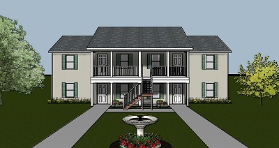 4 Plex Apartment Plan With Covered Entry Porch And Efficient Interior Layout J0124 1 Renderingmid Jpg