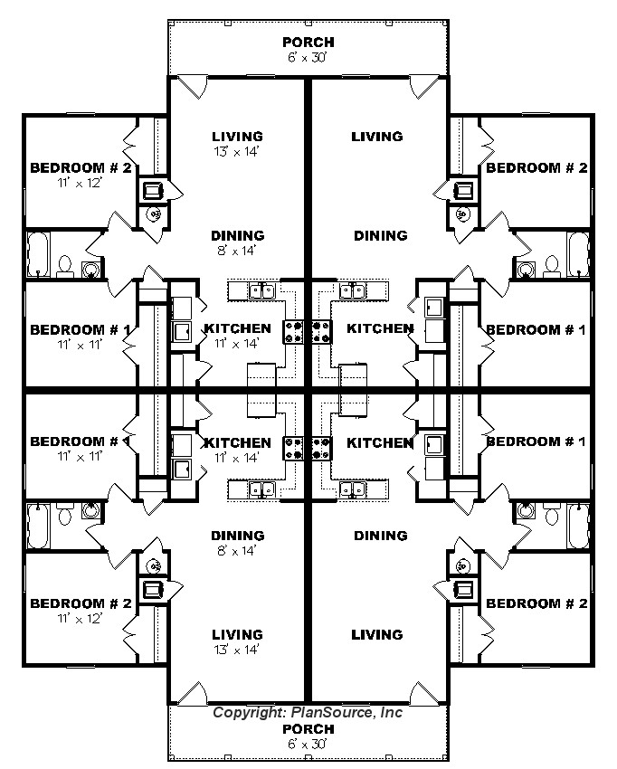 Apartment plan j0124 13 4b 4plex plansource inc for Two unit apartment plans