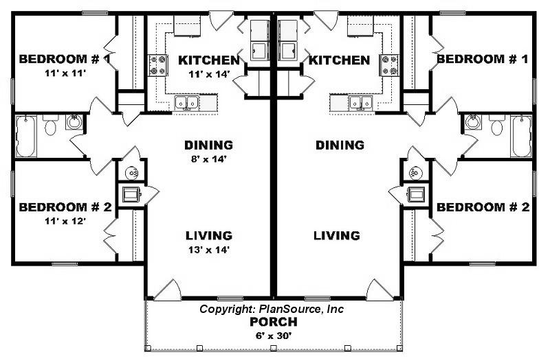 Duplex Plan J0124 13d Plansource Inc