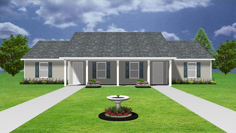 4plex apartment plan, J0124-13-4B