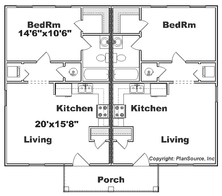 Duplex plan j0129 14d for 2 bedroom 1 bath duplex floor plans