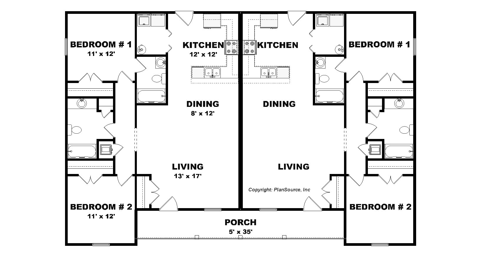 Apartment plans 4 plex for 40 x 40 apartment plans