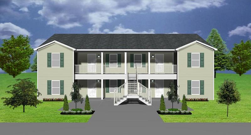 4plex apartment plan j0201 13 4 for Modern 4 plex plans