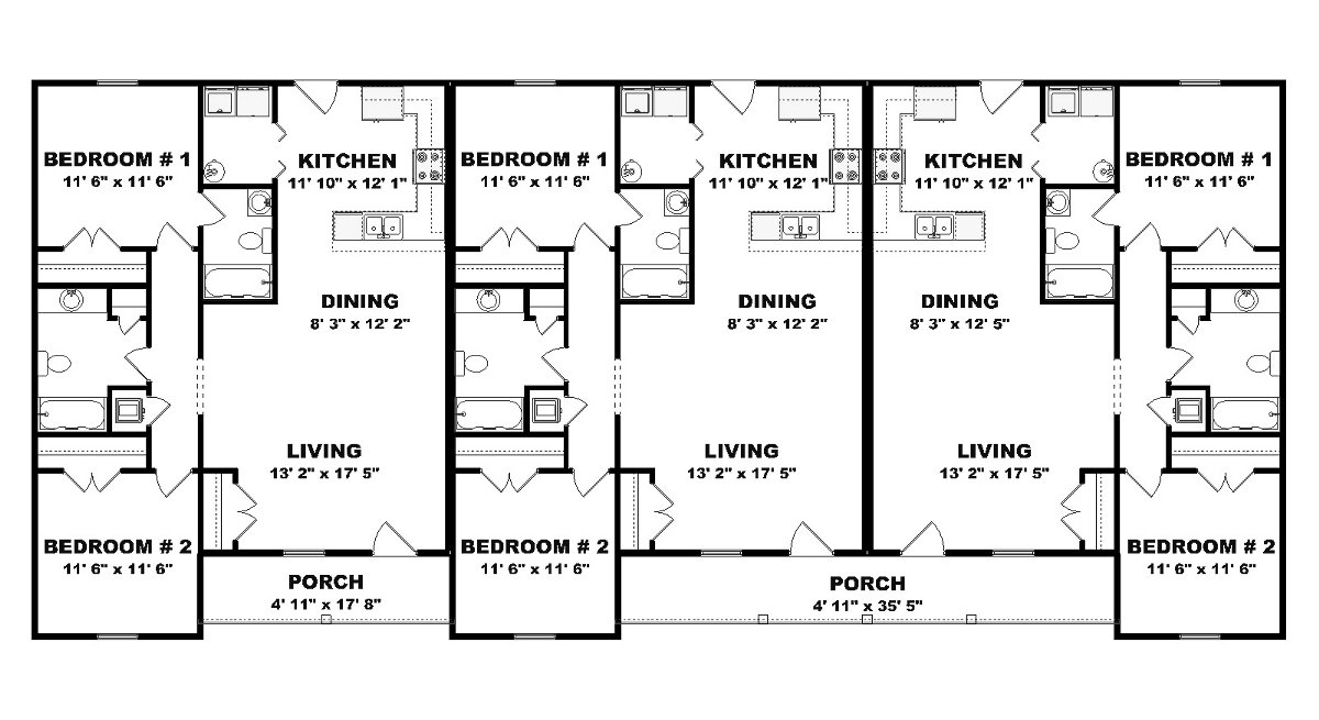 Triplex plan j0201 13t for Triplex floor plans