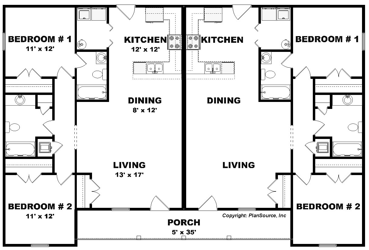 Duplex plan j0201 13d plansource inc for Up down duplex floor plans