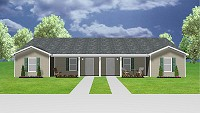 J0201-13d, 2 bed, 2 bath duplex house plan