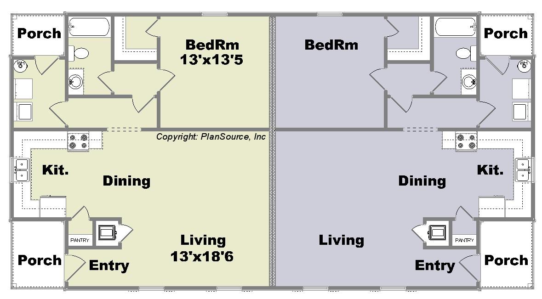duplex plan j0205 11d plansource inc one bedroom