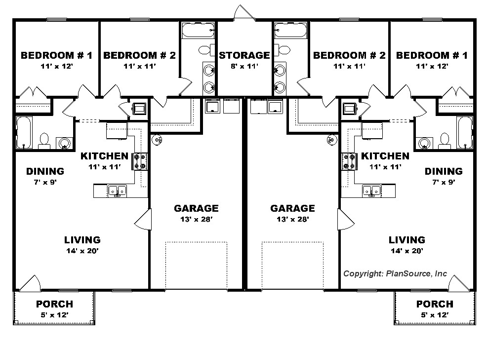 2 Bedroom duplex plan - Garage per unit - J0222-13d-2