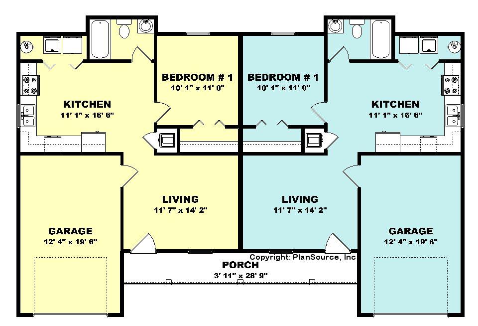 Duplex house plan J0224 16d PlanSource Inc