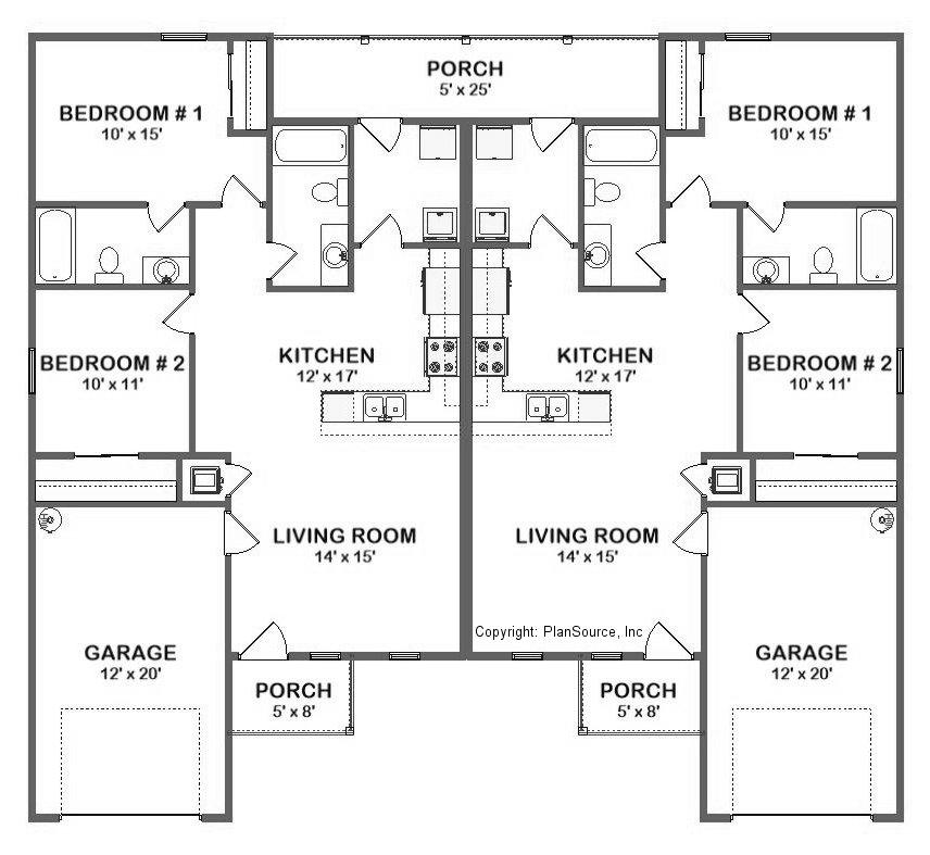 Duplex House Plan J0324d