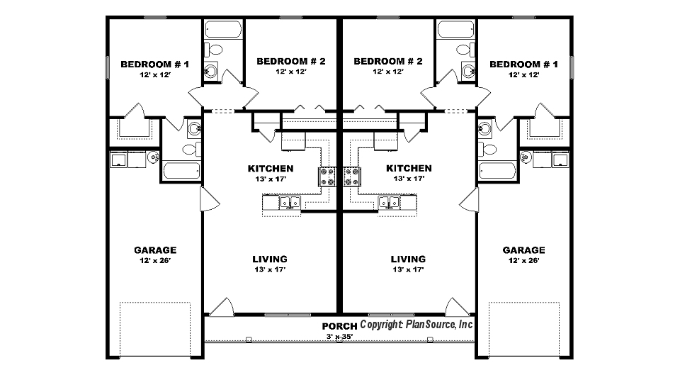 Duplex plan with garage j0408 14d plansource inc Duplex floor plans with garage