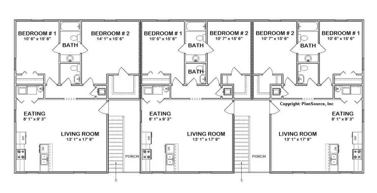 6 unit apartment plan multi family j0418 11 6 for Apartment building plans 6 units