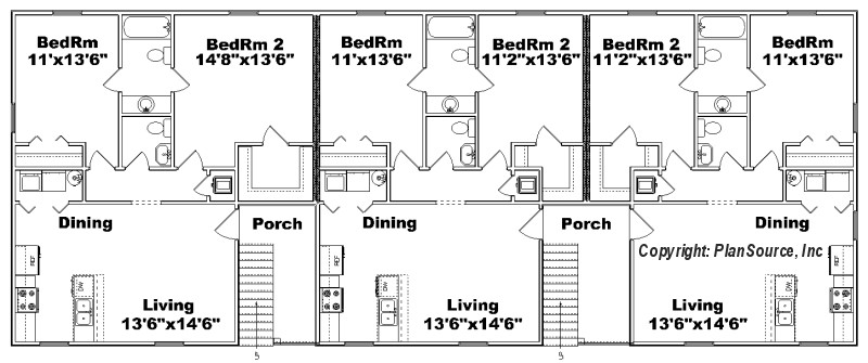 6 unit apartment plan multi family j0418 11 6 ForApartment Building Plans 6 Units