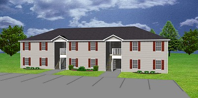 6 unit apartment plan multi family j0418 11 6 for Multi unit house plans
