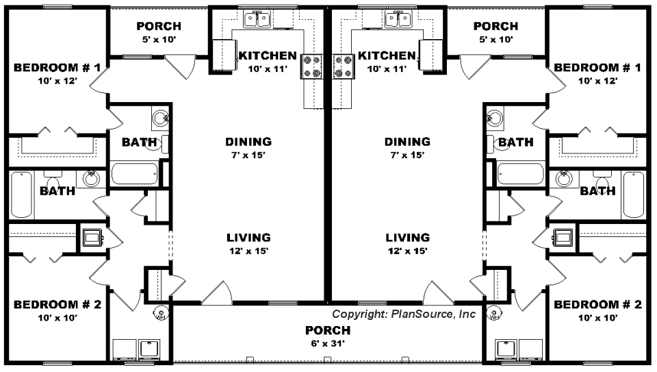 Duplex house plan j0423 14d for 2 bedroom 1 bath duplex floor plans