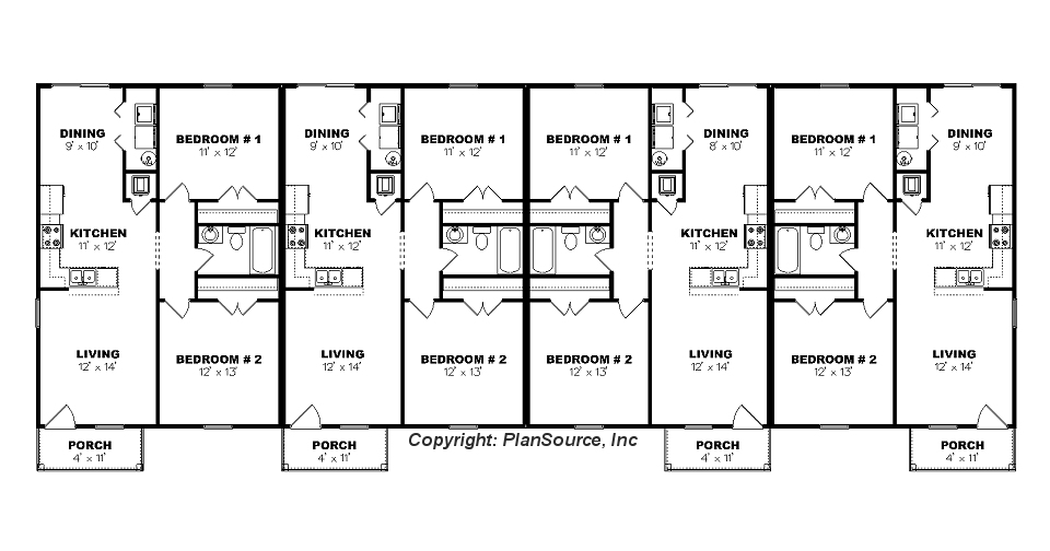 Fourplex plan j0605 14 4 for Quadruplex floor plans