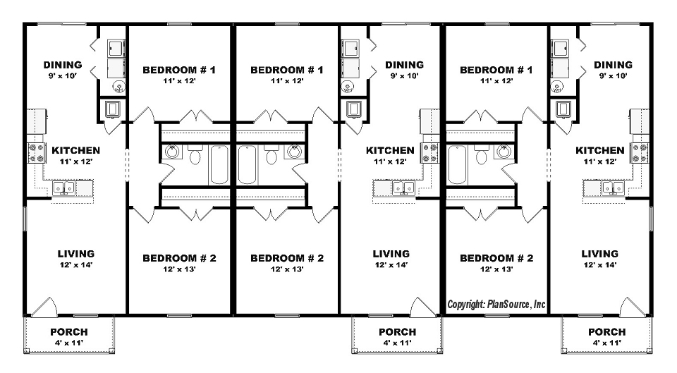 Triplex plan j0605 14t plansource inc Fourplex apartment plans