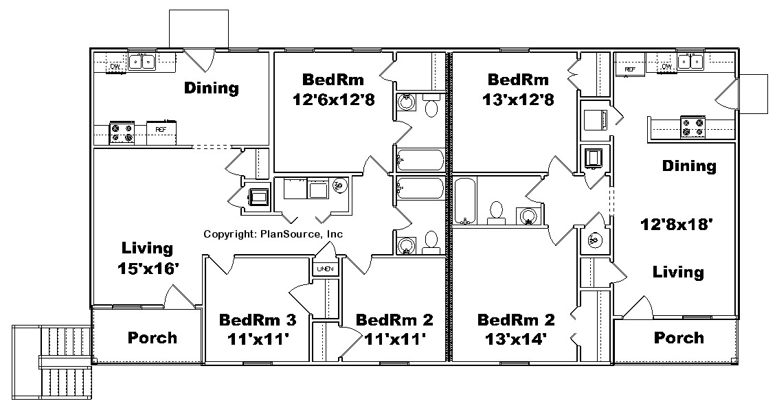 Triplex plan j0615 11t plansource inc for Triplex floor plans