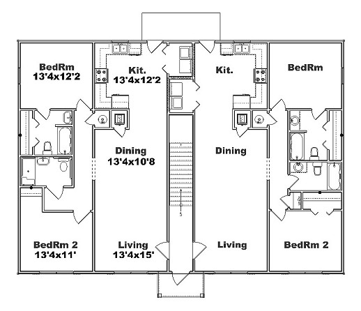 Free home plans 4 plex floor plans for Multi family apartment floor plans