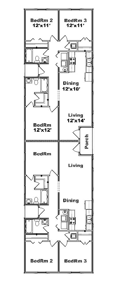 Apartment plans for narrow lots latest bestapartment 2018 for Duplex house plans for narrow lots