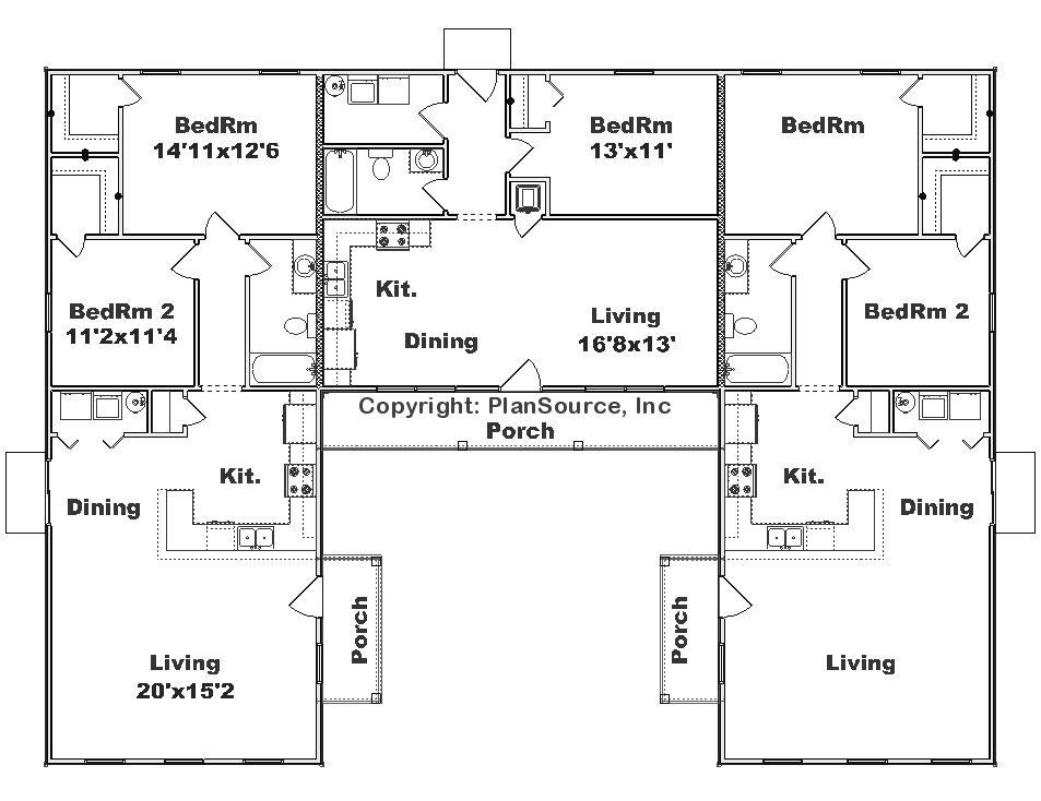 Triplex j0908 t plansource inc for U shaped house plans single level