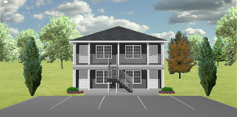 Apartment 4 plex j0929 11 4 plansource inc for Cost to build fourplex