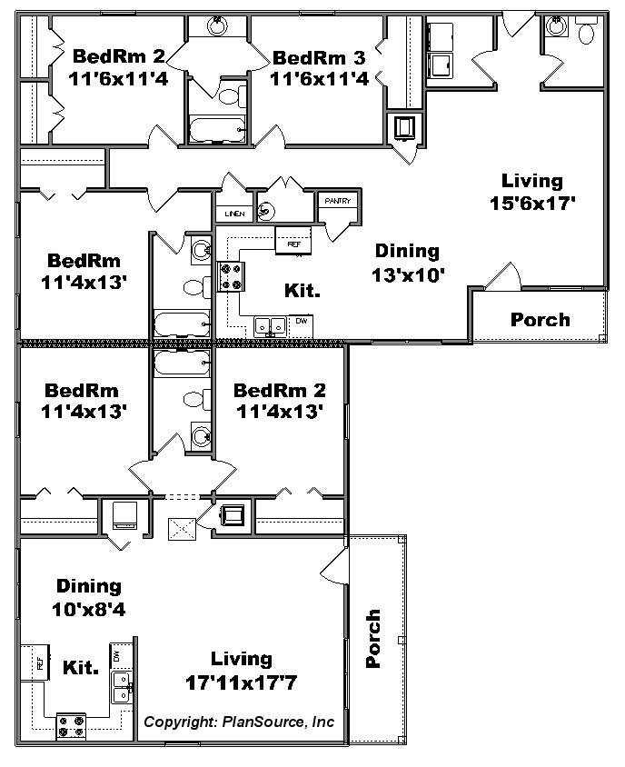 Duplex plan j1010 12d plansource inc for Duplex plans for corner lots
