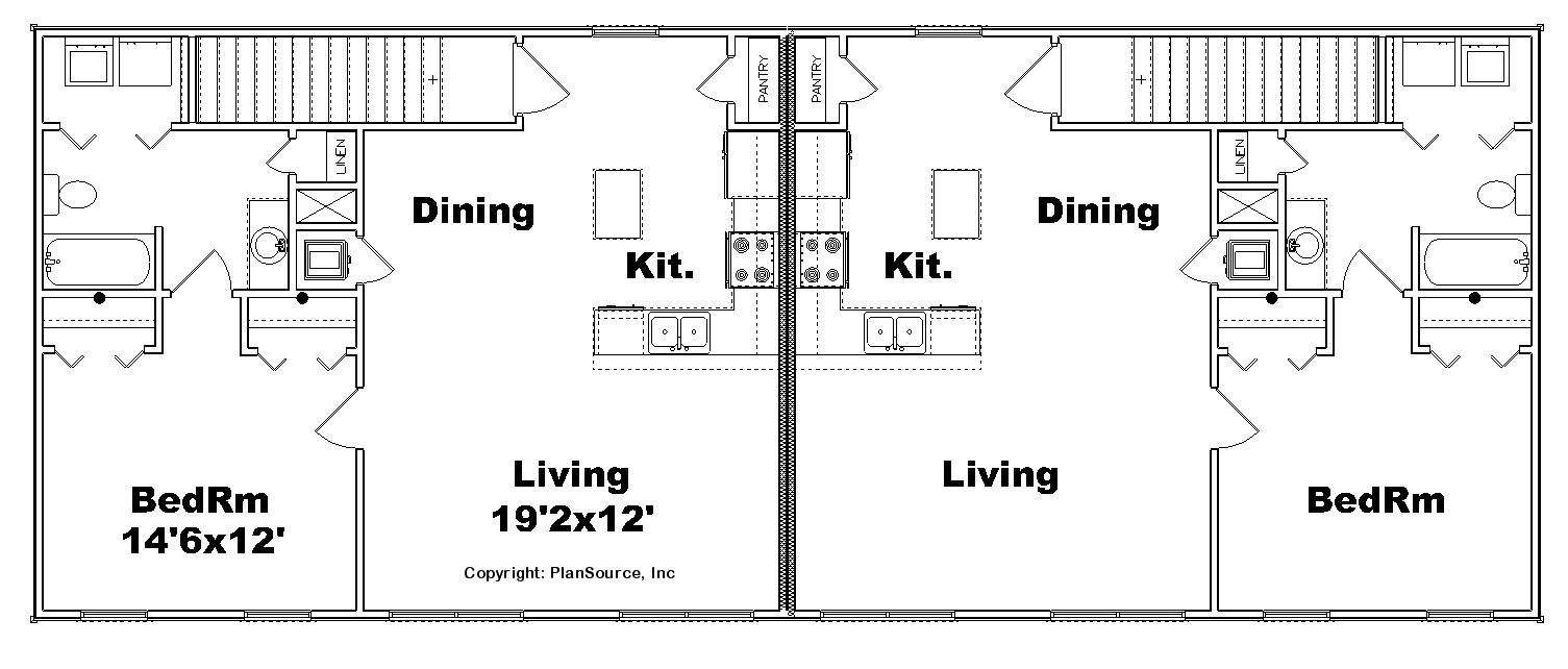 Garage Duplex Plan J1011g D Plansource Inc