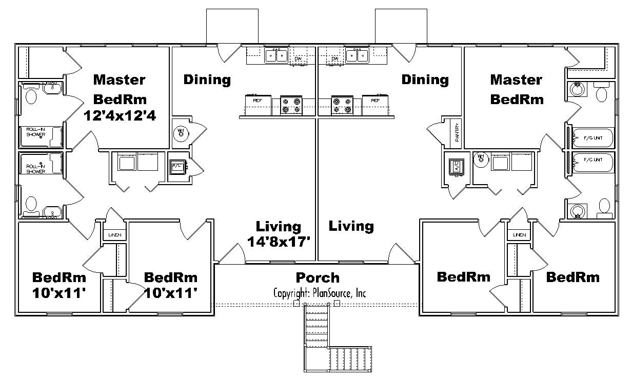 Fourplex apartment J1031-4 | PlanSource, Inc