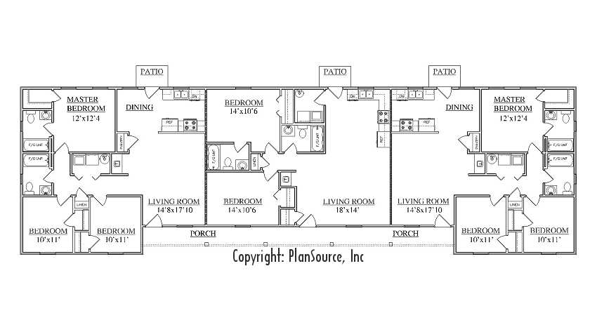 Triplex plan j1031 t for Triplex floor plans