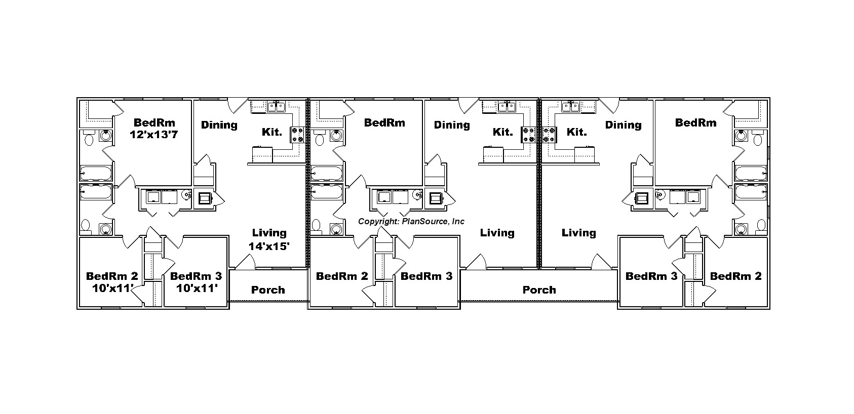 Triplex floor plans table of elements p for Triplex floor plans