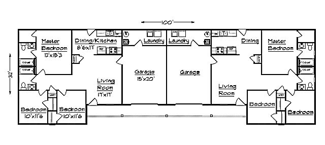 J1031d G Duplex Plan With Garage