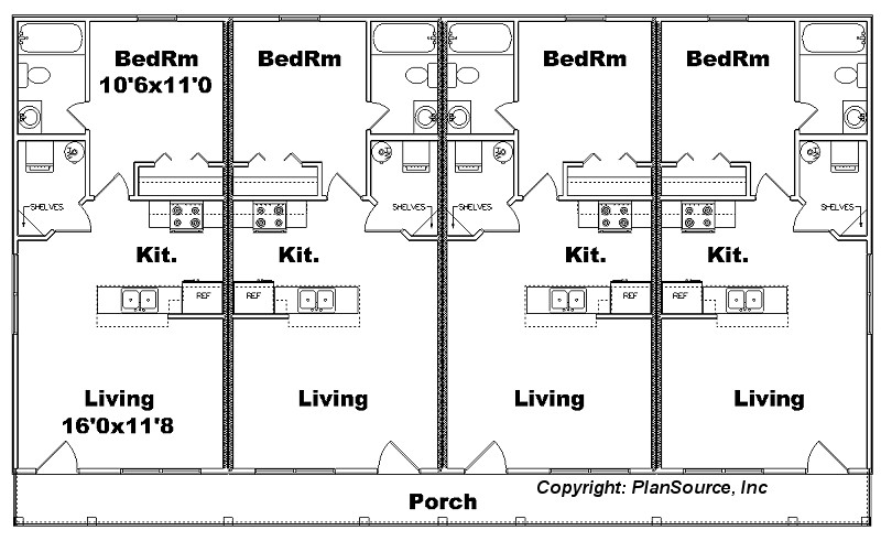 superb 4 plex apartment plans #2: J1103-11-4 floor plan
