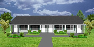 Apartment plan j1103 11 4 4 plex plansource inc for Single story multi family house plans