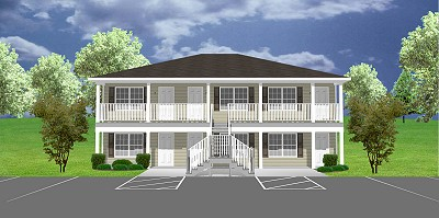 Apartment plan j1103 11 6 plansource inc for Cost to build 4 plex