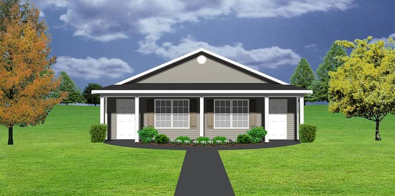 Duplex House Plan J1103 11d Plansource Inc