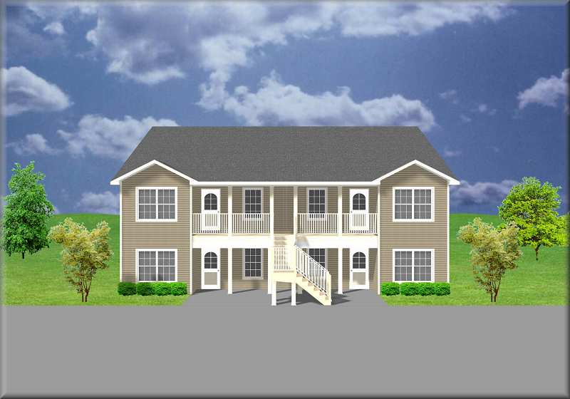 Apartment plan j1138 4 for Cost to build fourplex