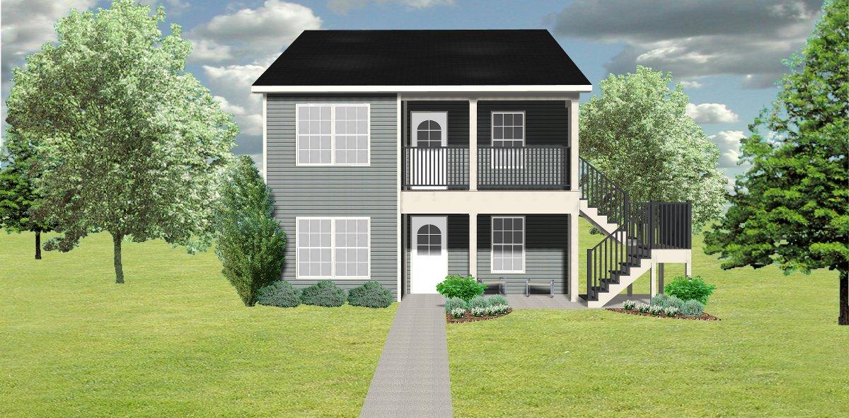 Duplex plan j1138d 2 plansource inc for Stacked duplex house plans