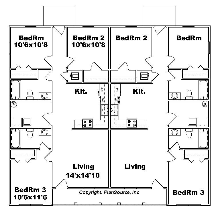 Duplex plan j1138d plansource inc for Cost to build fourplex