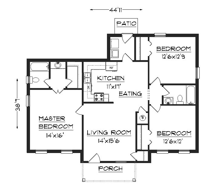 J1301 house plans by plansource inc Three bedroom house plan and design