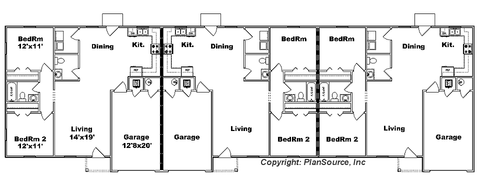 Triplex j1313 t plansource inc for Triplex floor plans