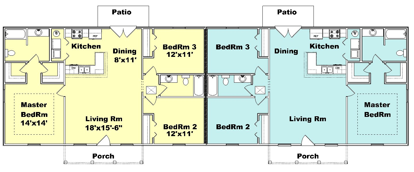 Duplex house plan J1377d