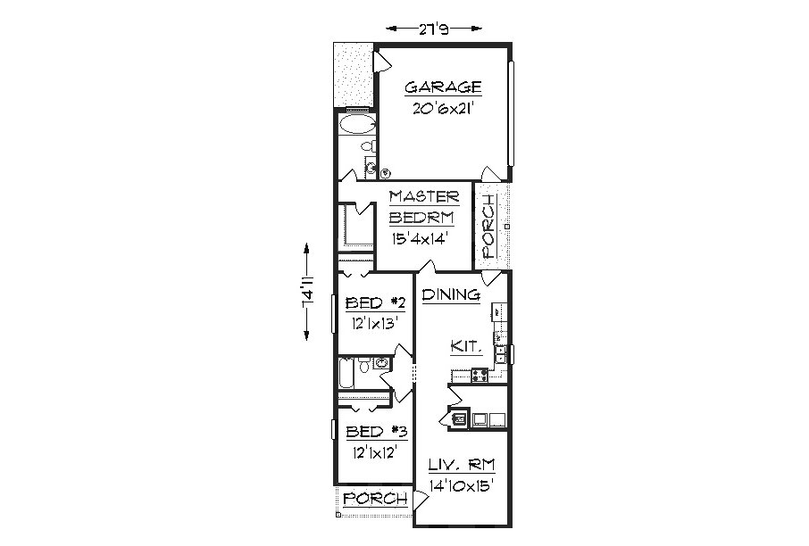 House plan j1405 - Narrow house plan paint ...