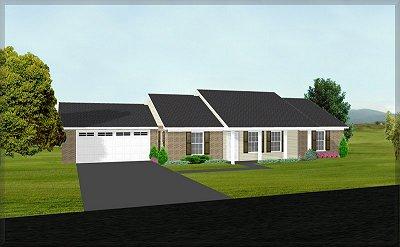 J1410 Rendering Mid 3 bedroom   2 bathJ1410   3 bedroom   2 bath house plan. 3 Bedroom 2 Bath House. Home Design Ideas