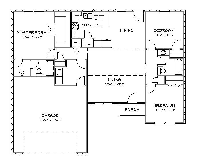 House plan j1433 split floor plan for Home designs floor plans free