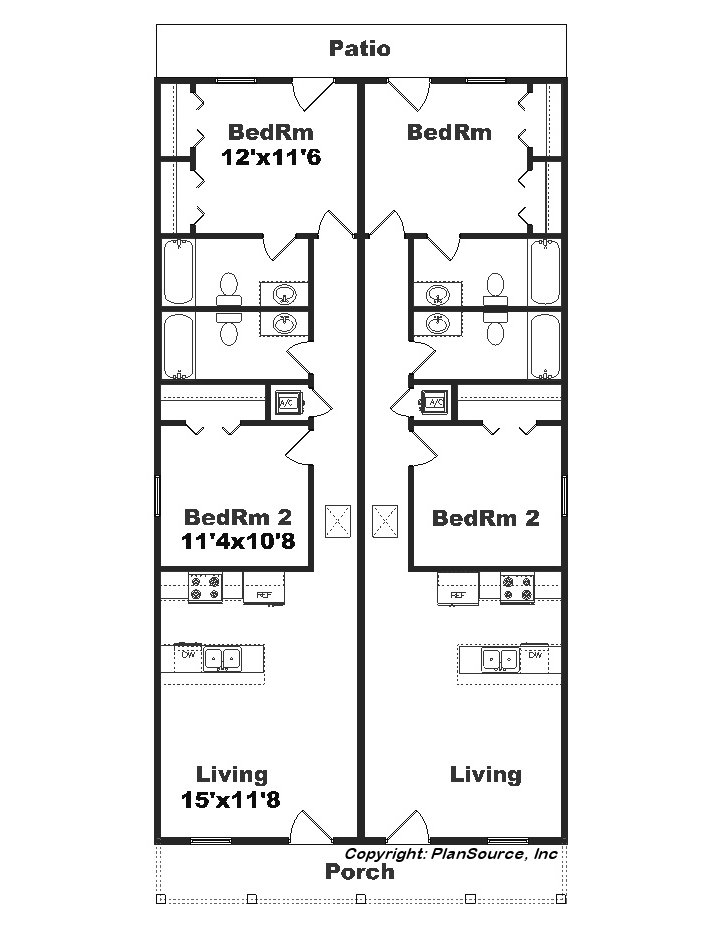Narrow lot duplex j1690 15d for Duplex plans for small lots
